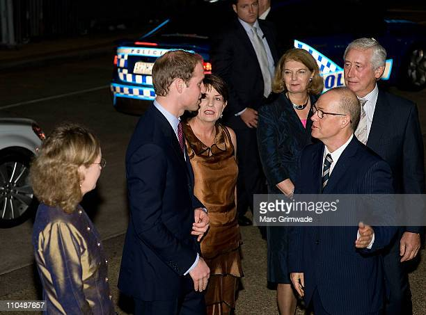 Prince William is greeted by the Governor of Queensland Ms Penelope Wensley and the Premier Anna Bligh on arrival at the Premier's Gala Dinner at the...
