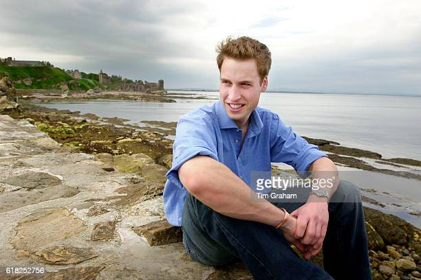 Prince William is laughing and in a happy mood on the sandy beach near his university home Looking relaxed and casual in denim jeans and a sweater he...