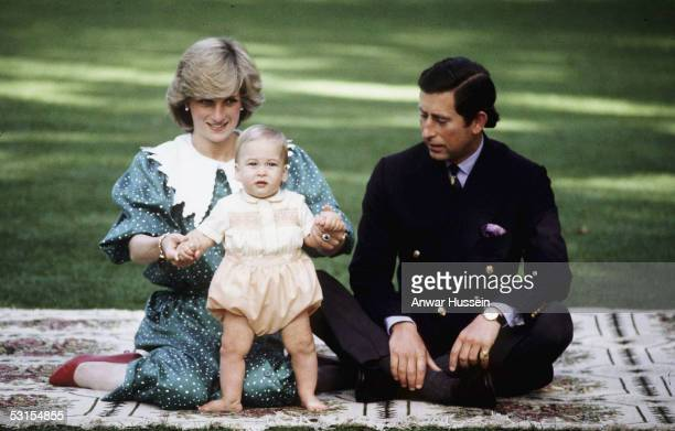 Prince William is seen with his parents TRH Prince Charles and Princess Diana during their 1983 official visit to New Zealand in April 1983 in...