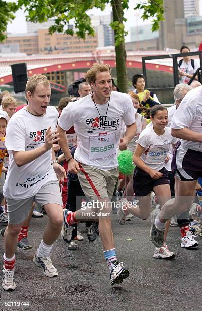 Prince William Joins Comedian Patrick Kielty And Members Of The Public For A 1 Mile Fun Run Alongside The River Thames To Raise Money For The Charity...