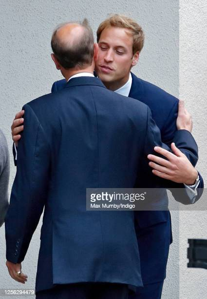 Prince William kisses his uncle Prince Edward, Earl of Wessex as they attend the 10th Anniversary Memorial Service for Diana, Princess of Wales at...