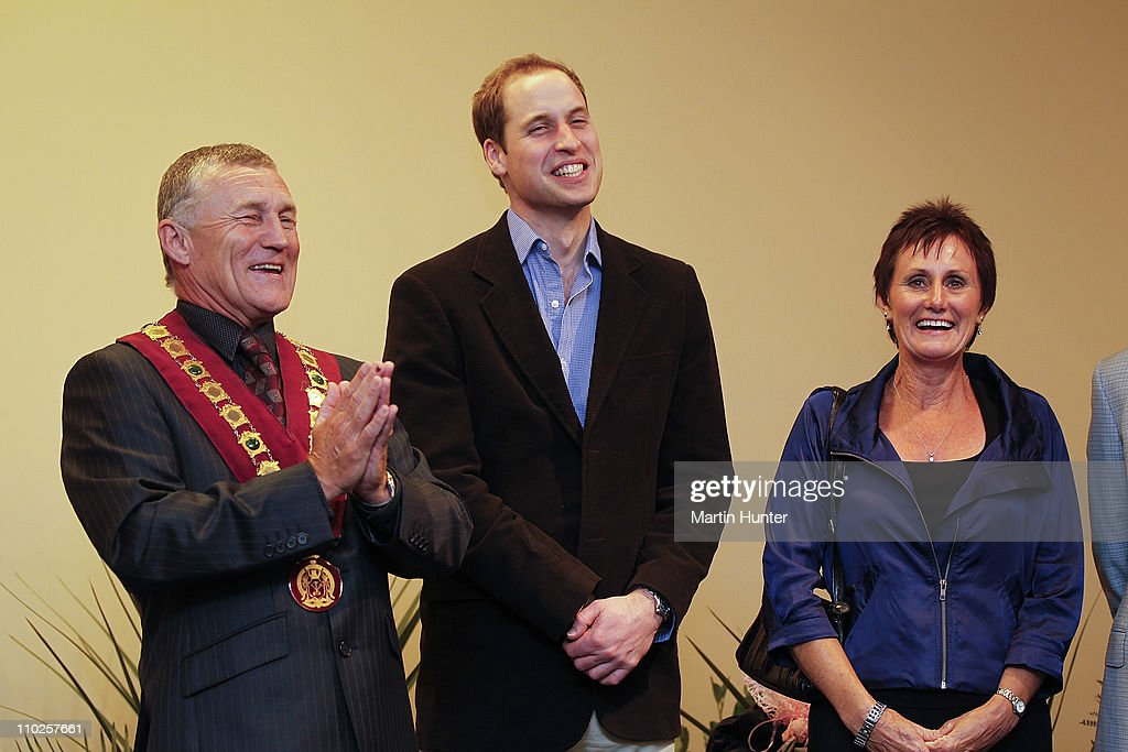 Prince William (C) laughs with Mayor of Greymouth Tony Kokshoorn (L) and his wife Lynne Kokshoorn during his visit to Shantytown on March 17, 2011 in Greymouth, New Zealand. His Royal Highness is in New Zealand for two days to tour areas devastated by the Christchurch Earthquake and to visit families who lost loved ones at the Pike River Mine in Greymouth. Prince William will then travel to Australia on Saturday for three days where he will visit regions affected by floods and Hurricane Yasi in Queensland, as well as flood-affected parts of Australia.