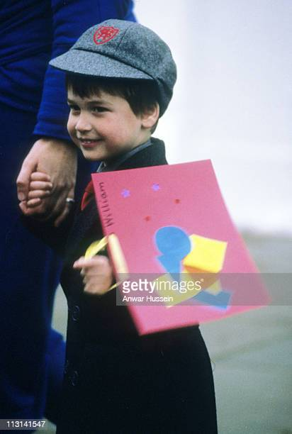 Prince William leaves carrying his work after his first day at Wetherby School on January 15 1987 in London England