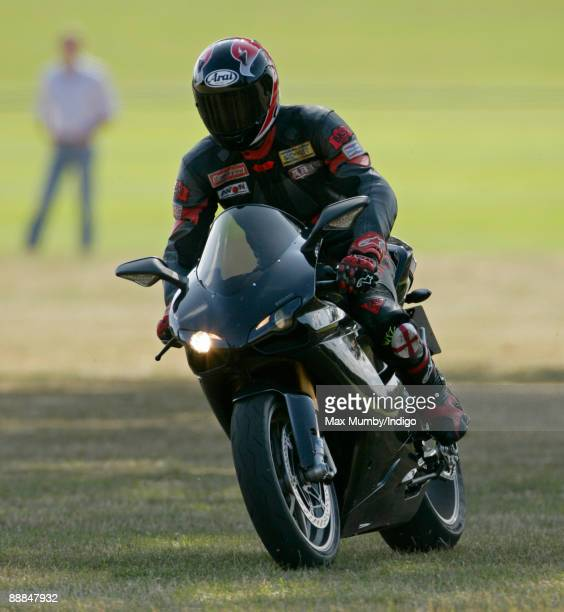 HRH Prince William leaves Coworth Polo Club on his Ducati motorbike after playing in the Westbury Shield charity polo match on July 5 2009 in Ascot...