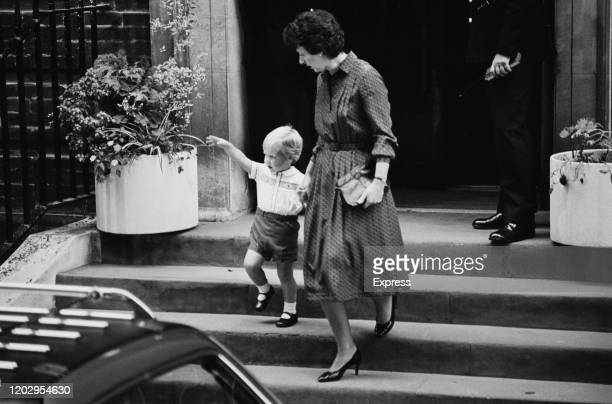Prince William leaves the Lindo Wing of St Mary's Hospital holding the hand of his nanny Barbara Barnes after visiting his mother Diana, Princess of...