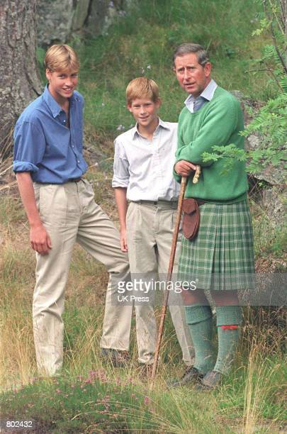 Prince William left poses for photographers August 16 1997 along with Prince Harry and Prince Charles at Balmoral Scotland The prince celebrates his...
