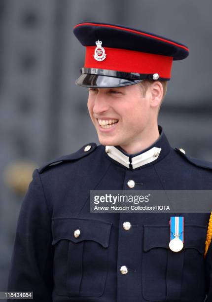 Prince William looks on at the passing-out Sovereign's Parade at Sandhurst Military Academy on April 12, 2006 in Sandhurst, England.