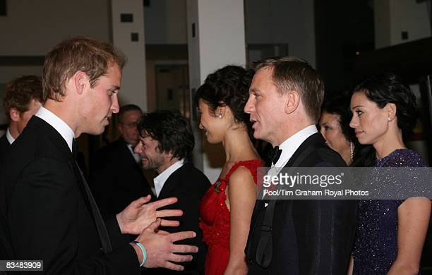 Prince William meets Daniel Craig and other cast members at the World Premiere of the new James Bond film, Quantum of Solace at the Odeon Cinema...