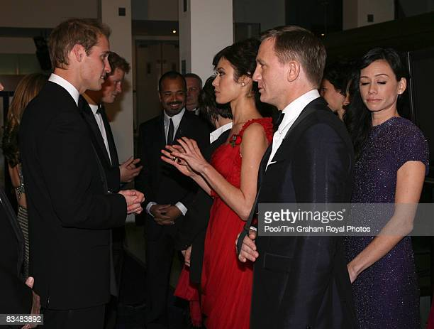 Prince William meets Daniel Craig, Olga Kurylenkoat and other cast members at the World Premiere of the new James Bond film, Quantum of Solace at the...