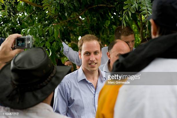 Prince William meets flood victims at Grantham on March 20 2011 in Brisbane Australia His Royal Highness is in Queensland on a two day visit to tour...