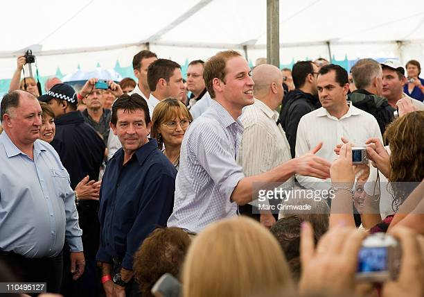 HRH Prince William meets flood victims at Grantham on March 20 2011 in Brisbane Australia His Royal Highness is in Queensland on a two day visit to...