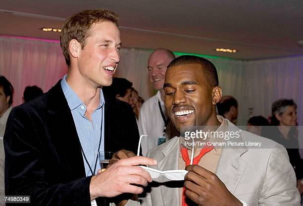 Prince William meets Kanye West at the after concert party the Princes hosted to thank all who took part in the 'Concert for Diana' at Wembley...