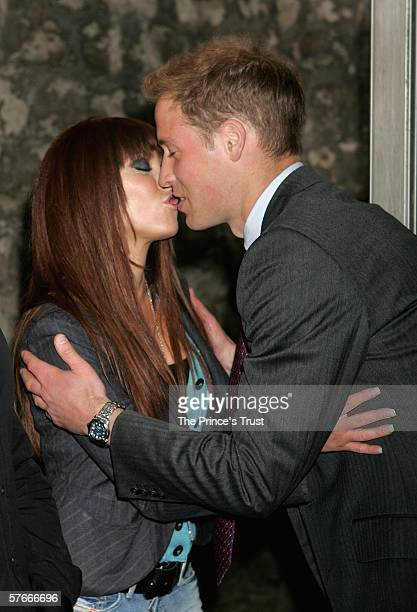 Prince William meets Natasha Hamilton of Atomic Kitten in the artist's backstage Green Room during The Prince's Trust 30th Live concert held at the...