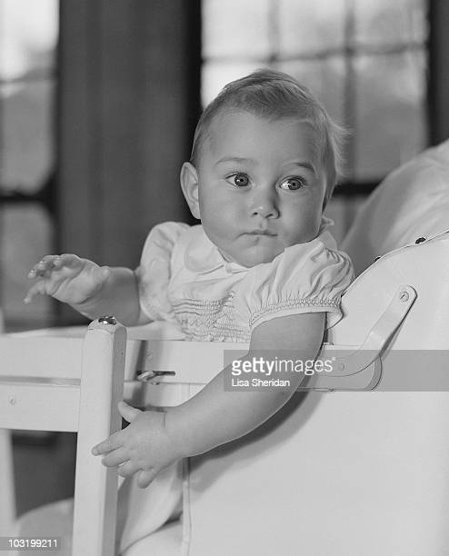 Prince William of Gloucester sitting in a high chair at Barnwell Manor England circa 1942