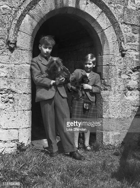 Prince William of Gloucester with his brother Prince Richard of Gloucester pictured with their dogs at their home at Barnwell Manor, Northamptonshire...
