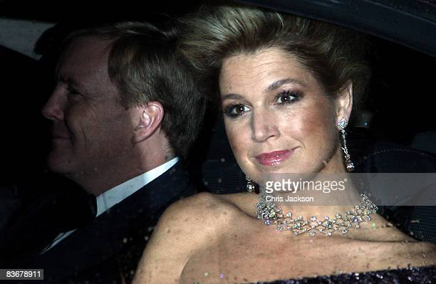 Prince William of Orange of The Netherlands and Princess Maxima of The Netherlands arrive at Buckingham Palace for a Gala Party hosted by the Queen...