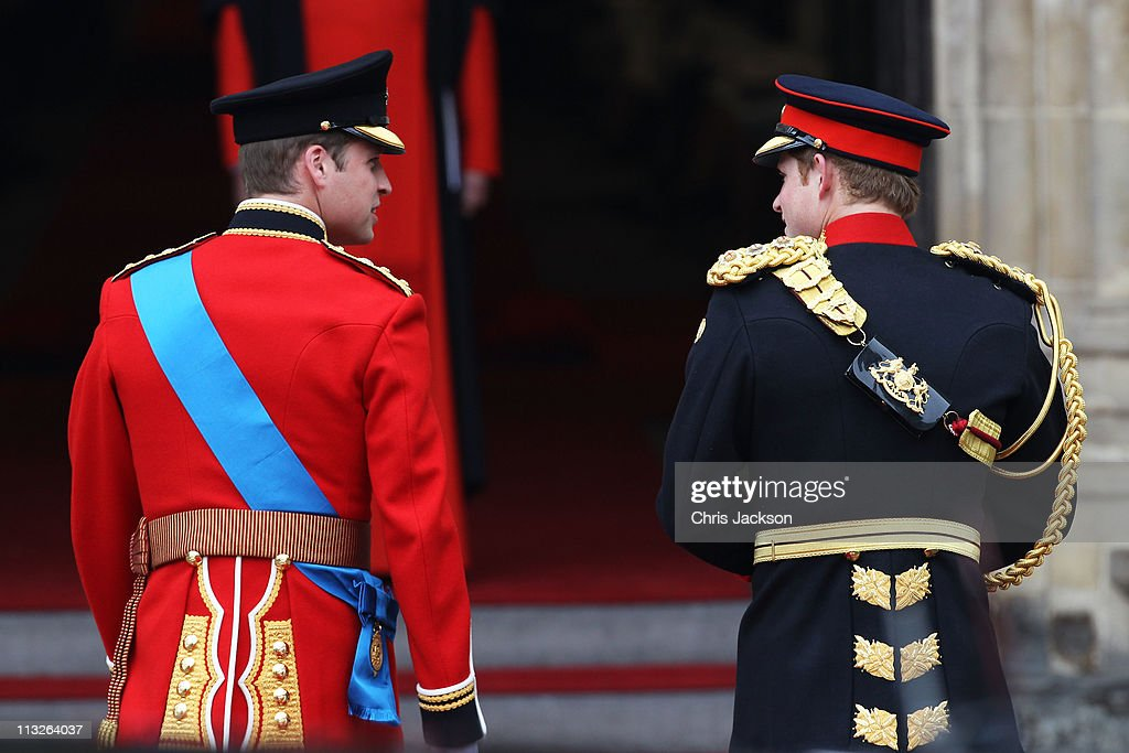 Prince William of Wales (L) with his brother Prince Harry of Wales arrive to attend the Royal Wedding of Prince William to Catherine Middleton at Westminster Abbey on April 29, 2011 in London, England. The marriage of the second in line to the British throne is to be led by the Archbishop of Canterbury and will be attended by 1900 guests, including foreign Royal family members and heads of state. Thousands of well-wishers from around the world have also flocked to London to witness the spectacle and pageantry of the Royal Wedding.