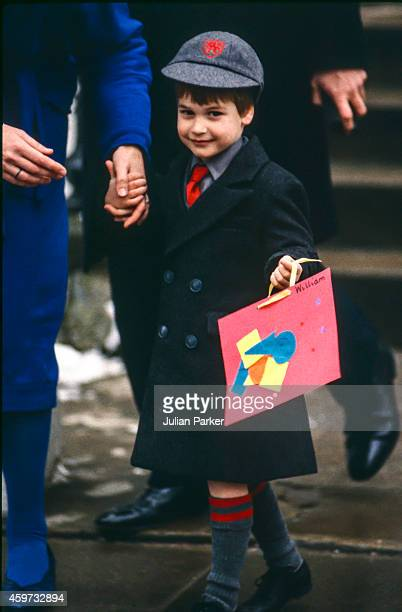 Prince William on his first day at Wetherby School, on January 15, 1987 in London, United Kingdom.