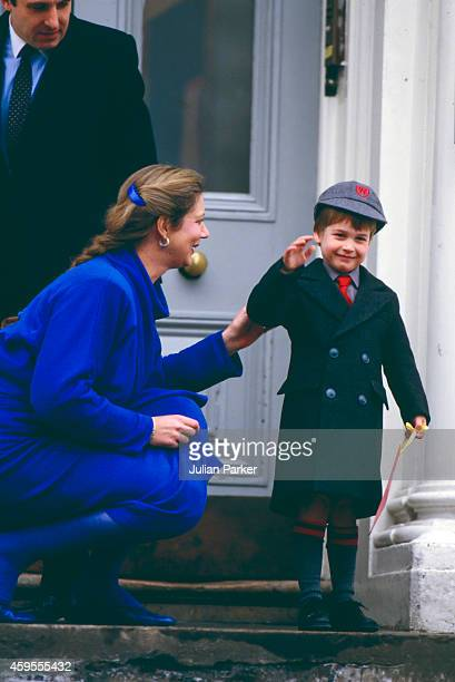 Prince William on his First day at Wetherby School with School Headmistress Frederika BlairTurner and Royal Detective on January 15 1987 in London...