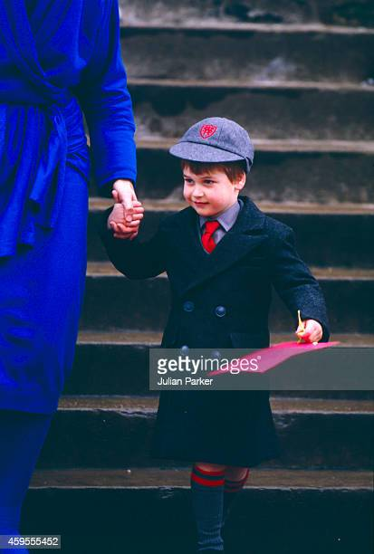Prince William on his first day at Wetherby School with School Headmistress Frederika BlairTurner on January 15 1987 in London United Kingdom