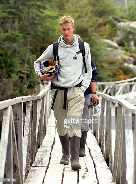 Prince William on his way to repair walkways during his Raleigh International expedition December 7 2000 in the village of Tortel Southern Chile...