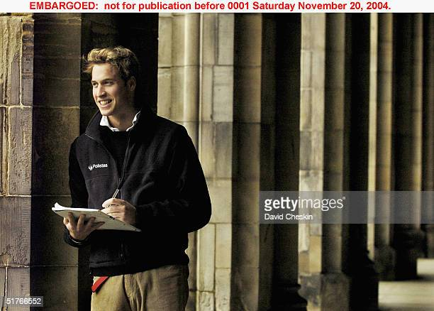 Prince William pauses in St Salvator's Quad Monday in this photo taken on November 15 at St Andrews University where he is a student. The Prince is...