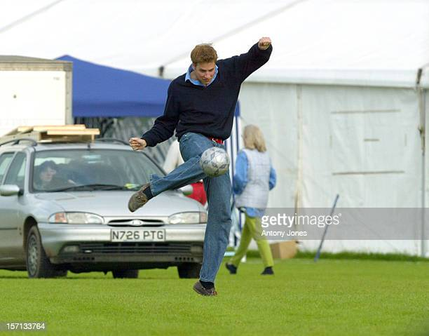 Prince William Playing Football During A Polo Match Beaufort Park Gloucestershire