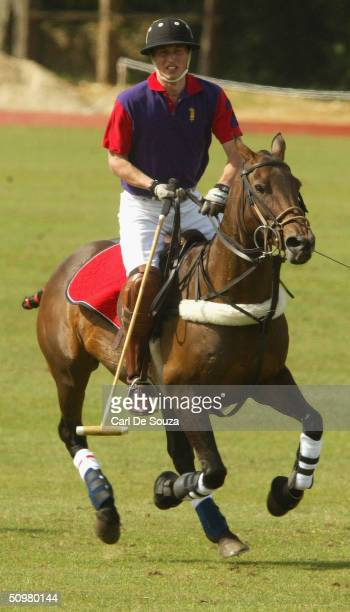 Prince William playing for the Highgrove team against Graff Capital in the Calcot Manor Hotel cup at Beaufort Polo Club Gloucestershire on June 20...