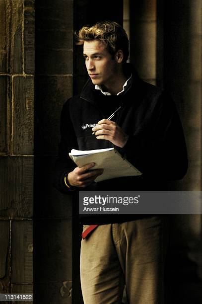 Prince William poses in Salvator's quad in St Andrew's University on November 20 2004 in St Andrews Scotland