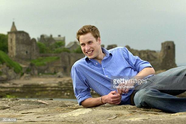 Prince William poses on the pier May 28 2003 at St Andrews in Scotland Prince William will celebrate his 21st birthday on June 21 2003