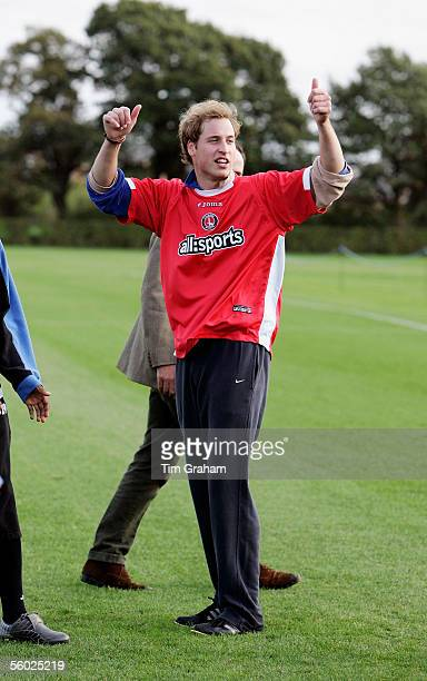 Prince William President designate of the Football Association wears a Charlton FC shirt as he joins Charlton Athletics Premiership League First...
