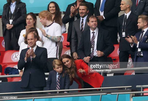 Prince William, President of the Football Association along with Catherine, Duchess of Cambridge with their son Prince George after the UEFA Euro...