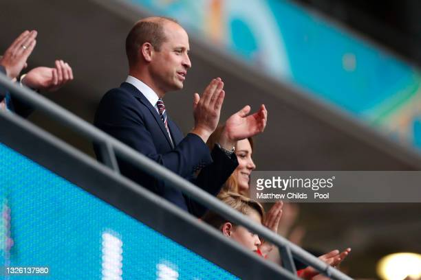 Prince William, President of the Football Association and Prince George along with Catherine, Duchess of Cambridge applaud after the UEFA Euro 2020...
