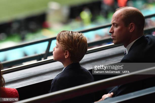Prince William, President of the Football Association with Prince George during the UEFA Euro 2020 Championship Round of 16 match between England and...