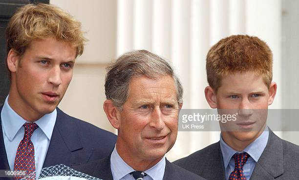 Prince William Prince Charles and Prince Harry attend the celebrations to mark the Queen Mother''s 101st birthday August 4 2001 in London