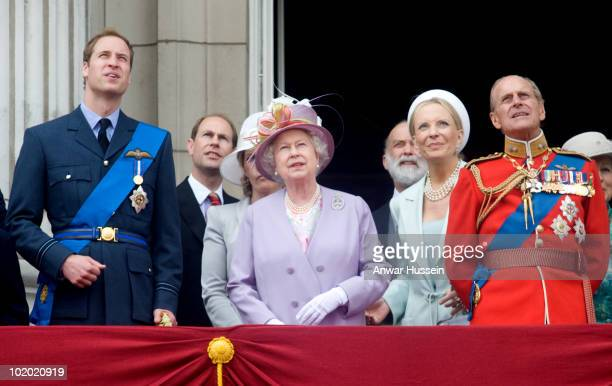 Prince William Prince Edward Earl of Wessex Queen Elizabeth ll Prince and Princess Michael of Kent and Prince Philip Duke of Edinburgh stand on the...