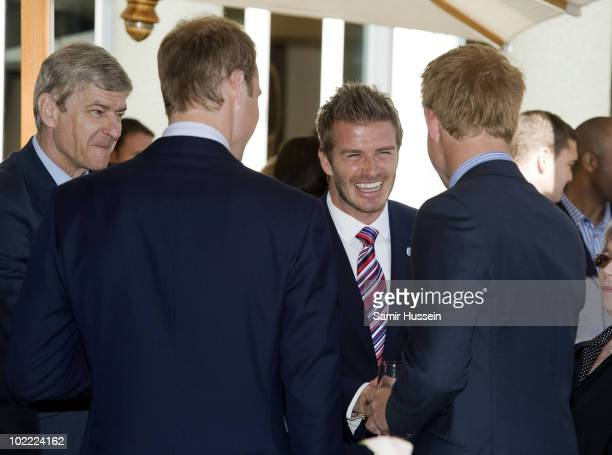 Prince William, Prince Harry and David Beckham attend a reception for FIFA officials on behalf of the English Football Association in honour of the...