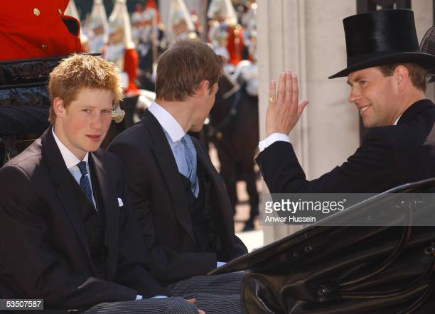 Prince William Prince Harry and Edward Earl of Wessex travel in an open carriage to watch the Trooping the colour Ceremony on June 14 2003 in London...