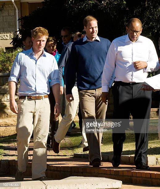 Prince William Prince Harry and Prince Seeiso visit the Mamohato Network Club for children affected by HIV at King Letsie's Palace on June 17 2010 in...