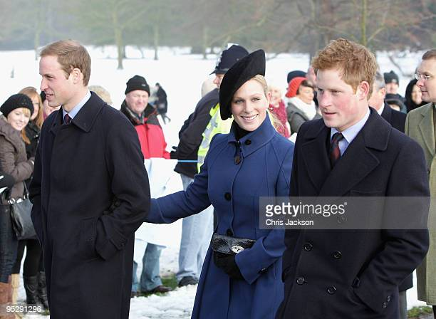 Prince William, Prince Harry and Zara Phillipsarrive for the Christmas Day service at Sandringham Church on December 25, 2009 in King's Lynn,...