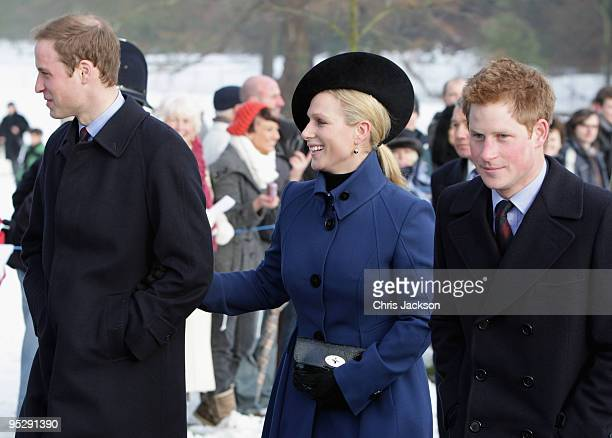 25 Prince William Prince Harry and Zara Phillipsarrive for the Christmas Day service at Sandringham Church on December 25 2009 in King's Lynn England...