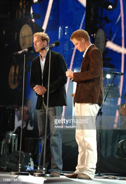 Prince William Prince Harry give a talk on the stage at The Concert for Diana at Wembley Stadium on July 1 2007 in London England