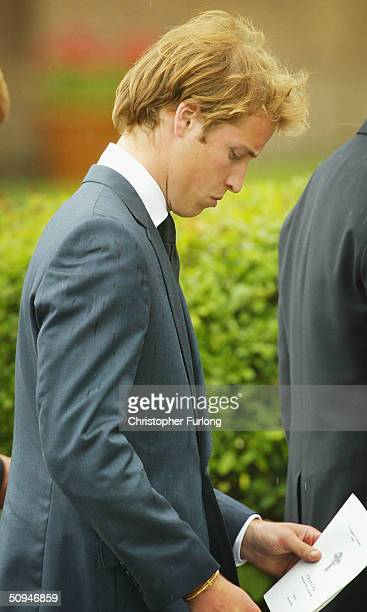 Prince William reads the order of service at the funeral of his grandmother Frances Shand Kydd at the Cathedral of Saint Columba on June 10 2004 in...