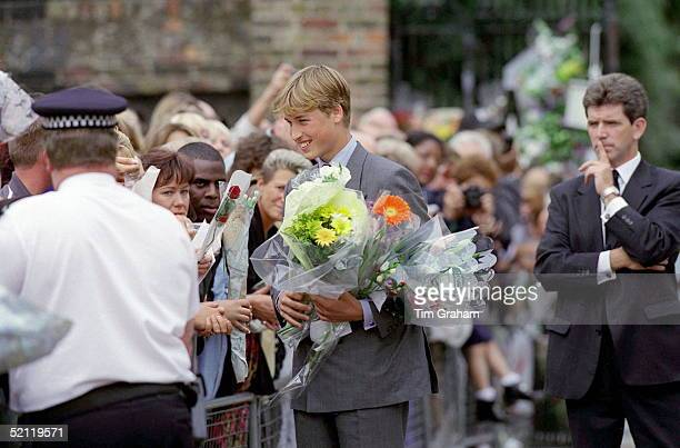 Prince William Receiving Floral Tributes After His Mother's Deathwith Him Is Police Bodyguard Iain Mccrae