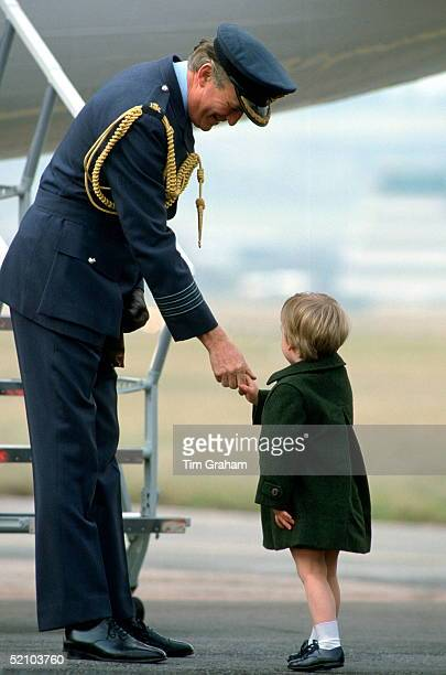 Prince William Shaking Hands With Captain Jeremy Jones Of The Queen's Flight At Aberdeen Airport