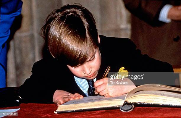 Prince William Signing A Visitors Book In Wales On St David's Day This Is His First Official Engagement