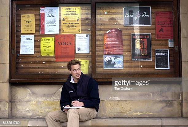 Prince William sits on a stone bench in St Salvator's Quad at St Andrews University where he is a student. The Prince is in the last year of his...