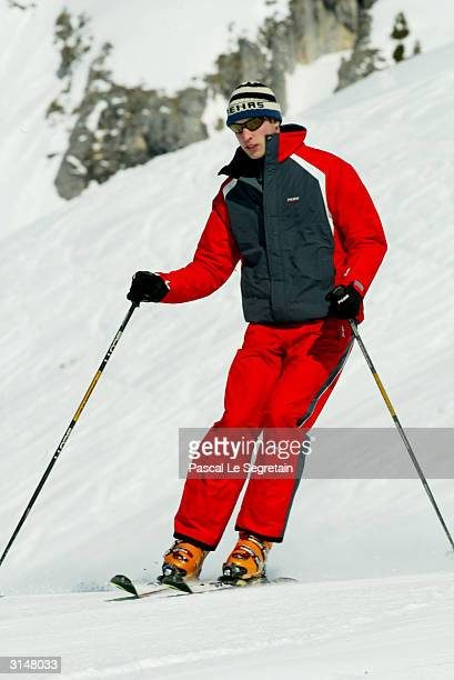 Prince William skies in the Swiss village of Klosters at the start of their annual skiing holiday in the Swiss Alps on March 28 2004 in Switzerland
