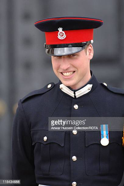 Prince William smiles at the passing-out Sovereign's Parade at Sandhurst Military Academy on April 12, 2006 in Sandhurst, England.