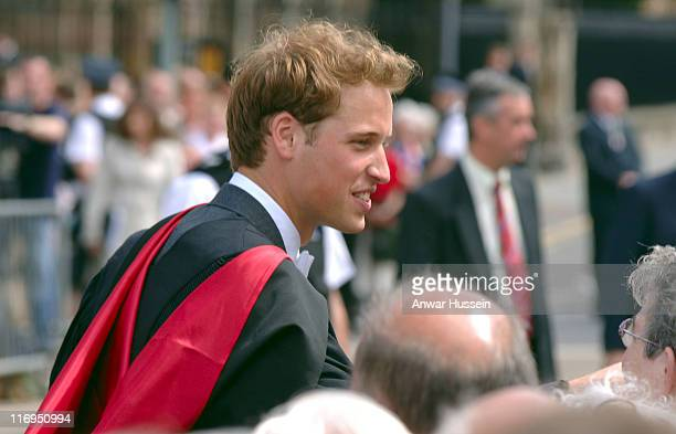 Prince William smiles at wellwishers following his graduation ceremony at the University of St. Andrews on June 15, 2005 in St. Andrew's, Scotland....